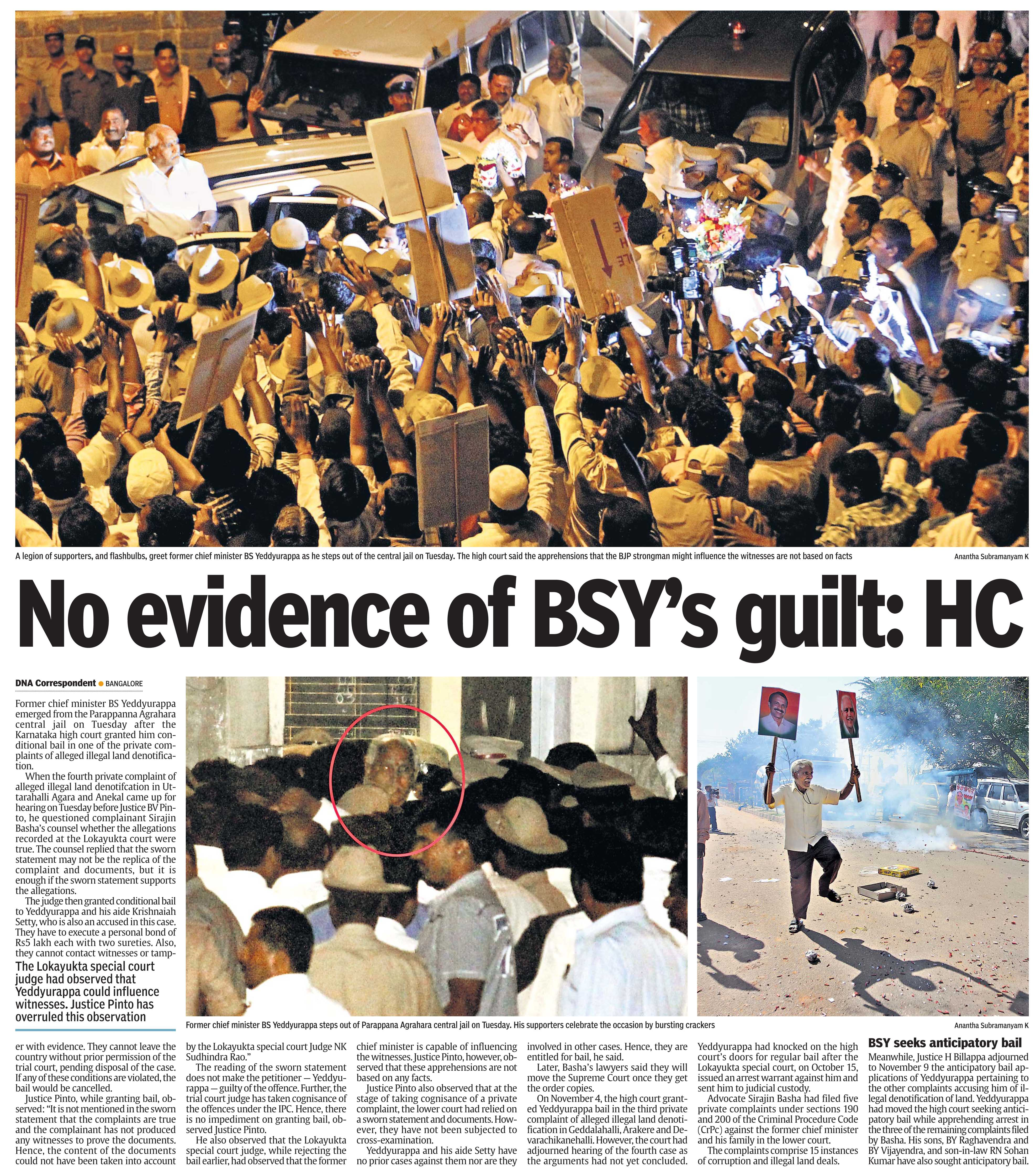 No evidence of BSY's guilt: HC
