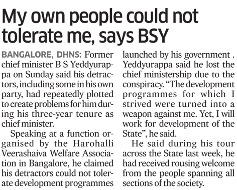 My own people could not tolerate me,says BSY