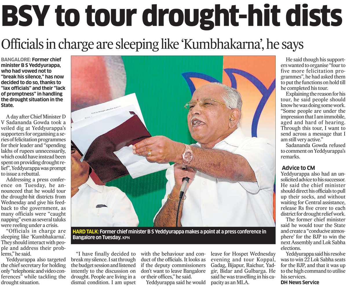 BSY to tour drought-hit dists
