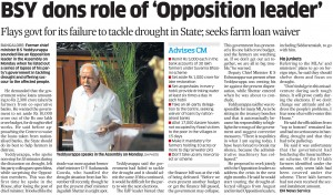 BSY dons role of 'Oppsition leader'