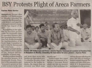 BSY Protest Plight of Areca Farmers