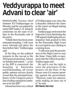 Yeddyurappa to meet Advani to clear 'air'
