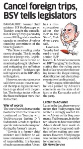 Cancel foreign trips, BSY tells legislators