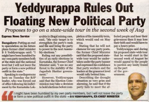 Yeddyurappa Rules Out Floating New Political Party