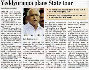 Yeddyurappa plans State tour