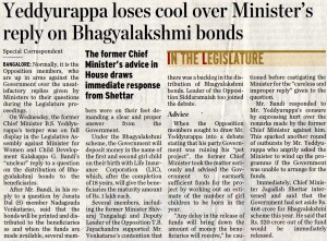 Yeddyurappa loses cool over Minister's reply on Bhagyalakshmi bonds