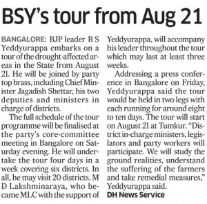 BSY's tour from Aug 21