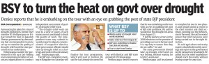 BSY to turn the heat on govt over drought