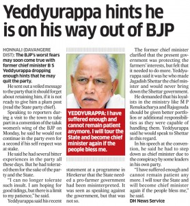 Yeddyurappa hints he is on his way out of BJP