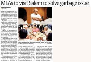 MLA to visit Salem to solve garbage issue