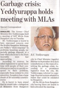 Garbage crisis: Yeddyurappa holds meeting with MLAs