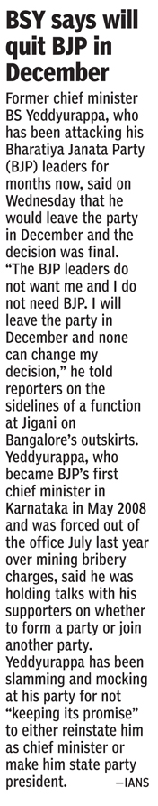 BSY says will quit BJP in December