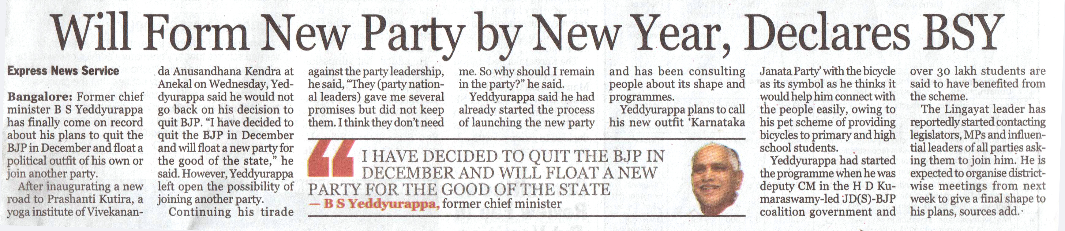 Will form New Party by New Year, Declares BSY