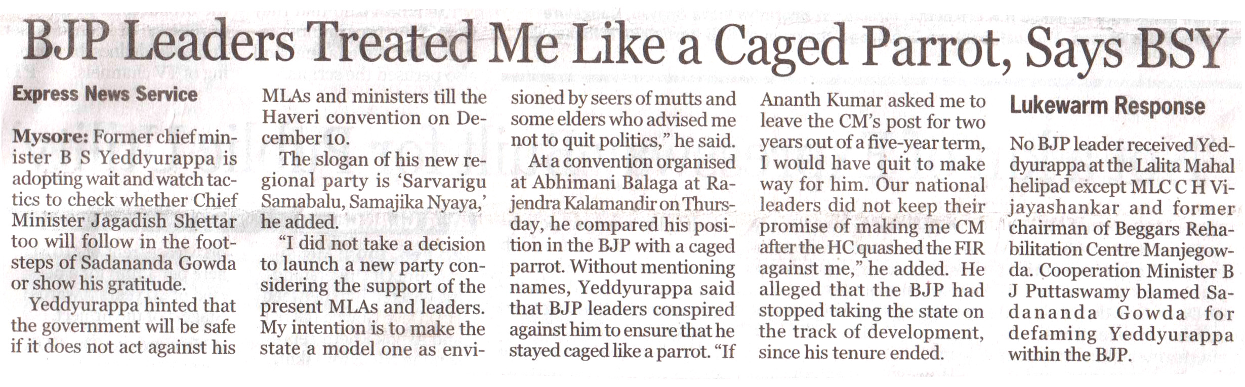 BJP Leaders Treated Me Like a Caged Parrot, Says BSY