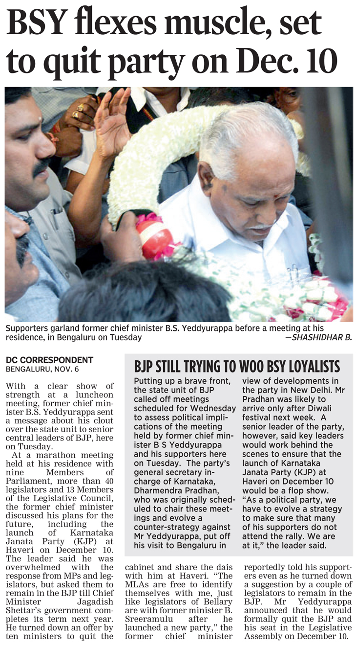 BSY flexes muscle, set to quit party on Dec. 10