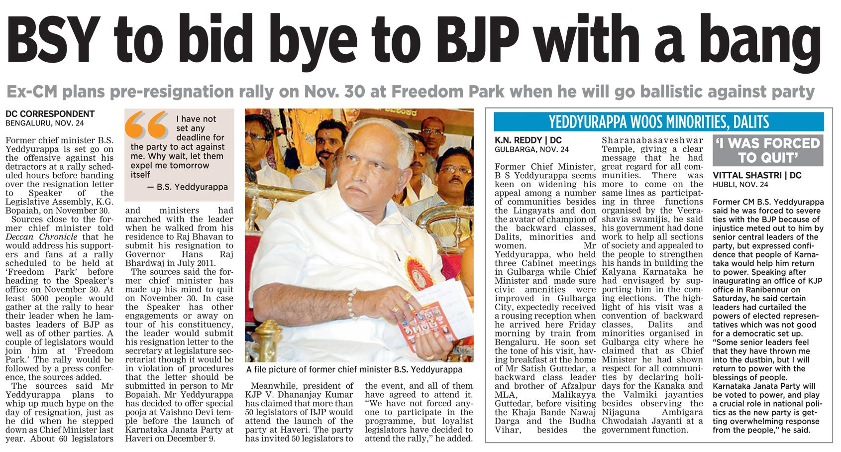 BSY to bid bye to BJP with a bang