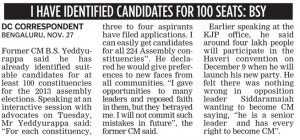 I HAVE IDENTIFIED CANDIDATES FOR 100 SEATS: BSY