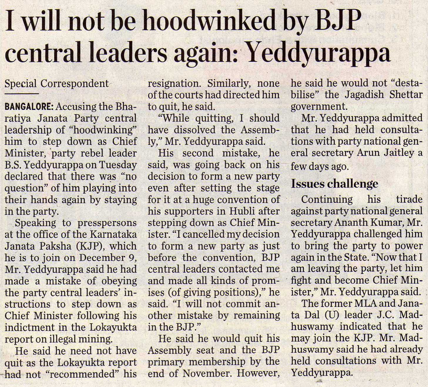 I will not be hoodwinked by BJP central leaders again: Yeddyurappa