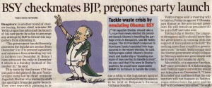 BSY checkmates BJP, prepones party launch