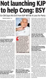 Not launching KJP to help Cong: BSY