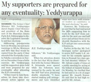 My supporters are prepared for any eventuality: Yeddyurappa