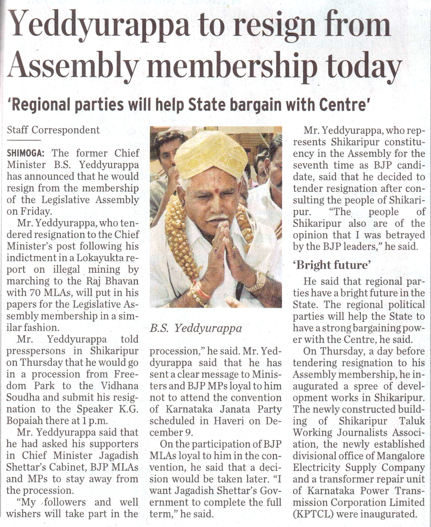 Yeddyurappa to resign from Assembly membership today