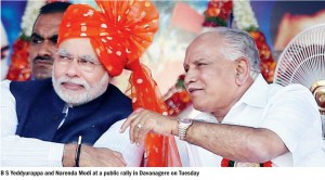 BSY and Narendra modi at a public rally in Davanagere