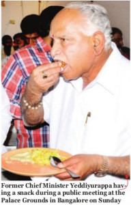 BSY having snacks during the public meeeting