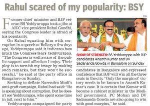 Rahul scared of my popularity: BSY