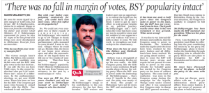 'There was no fall in margin of votes, BSY Popularity intact'
