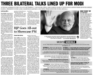 THREE BILATERAL TALKS LINED UP FOR MODI