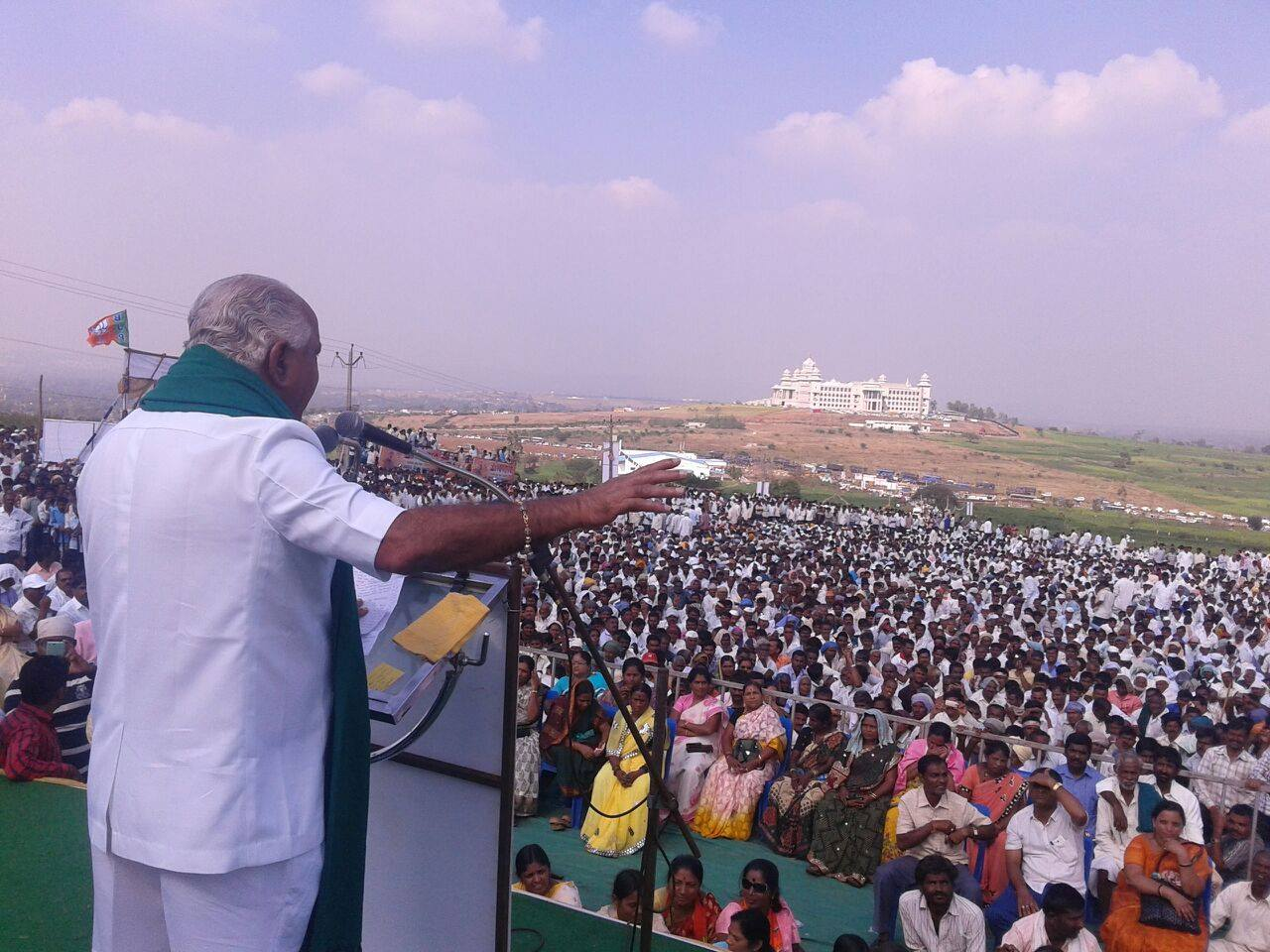 BSY participated in protest against State Govt to safeguard farmers' interest in Belagavi