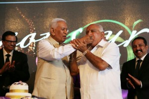 BSY sharing dais with our Hon'ble Governor & falicitated few influential indians including Dr Subramanya Swamy