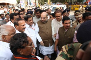 Amit Shah Arriving to BJP Office and Pays Floral Tributes to Bharatha Matha