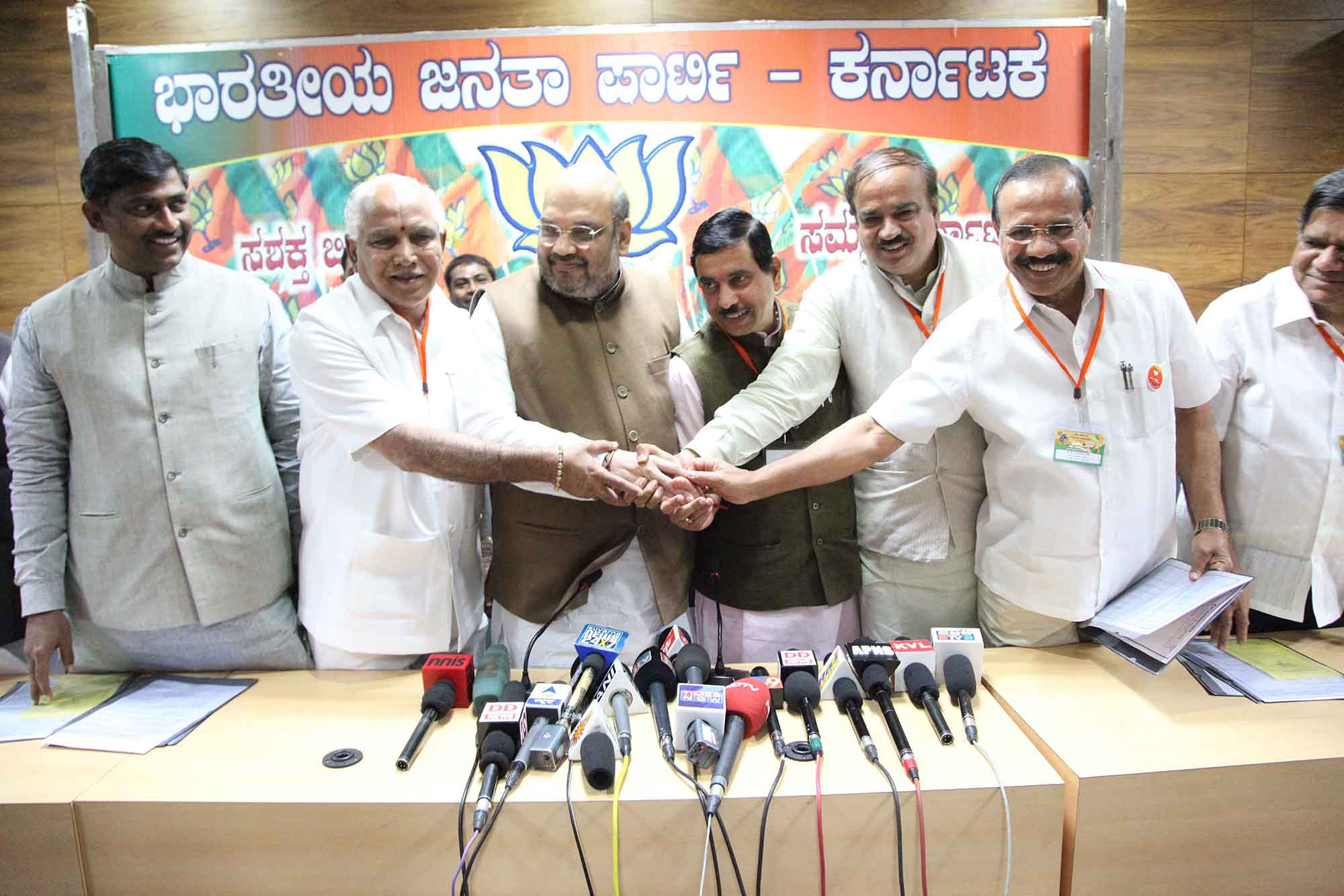 BSY with Party President Amith Shah and BJP Leader's