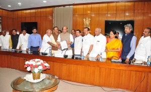 Delegation of BJP MPs calls on the Union Minister Rajnath Singh