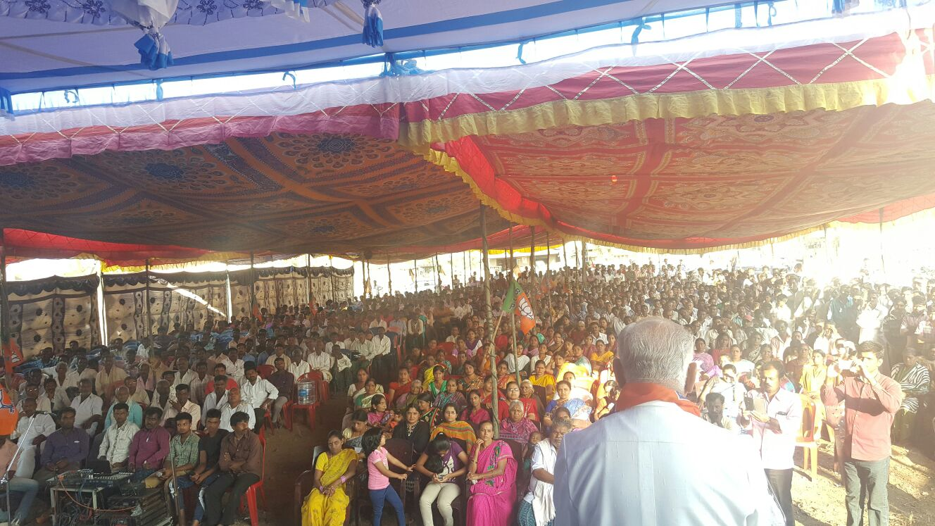 Massive public turnout of shivamogga Dist. during today's 6 public functions for local body elections