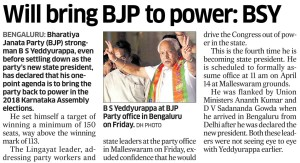Will bring BJP to power: BSY
