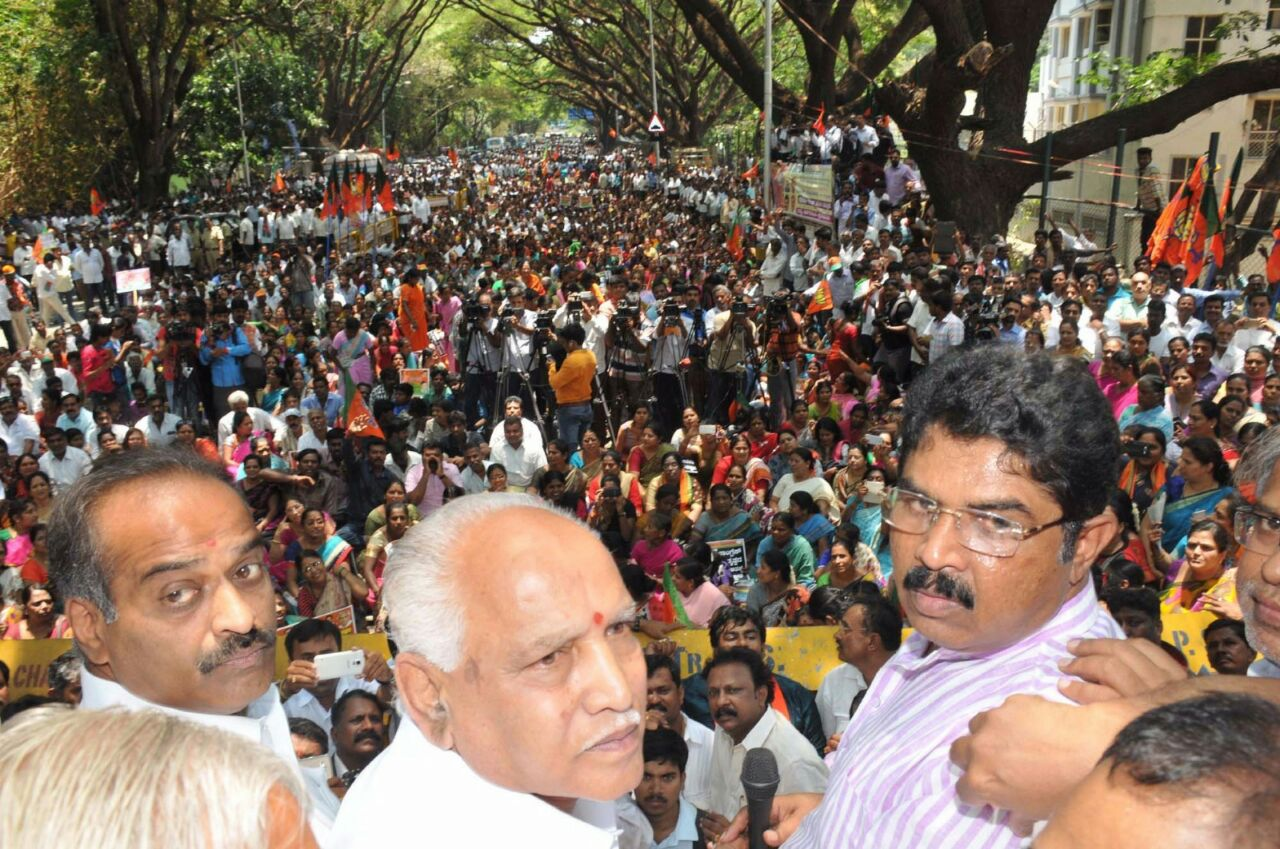 Protested against Congress Govt's new property tax rates policy at Bengaluru