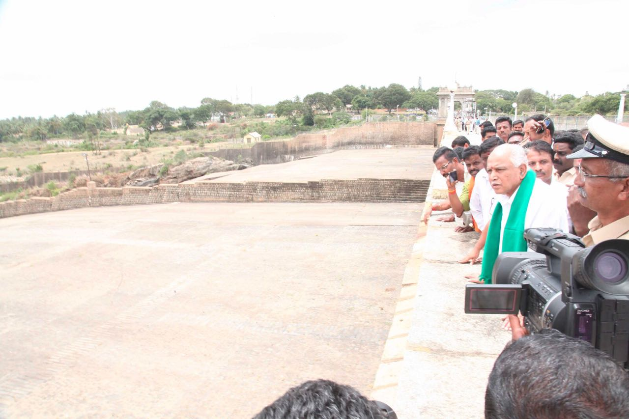 BSY Visited KRS Reservoir today to Review Water Level Situation