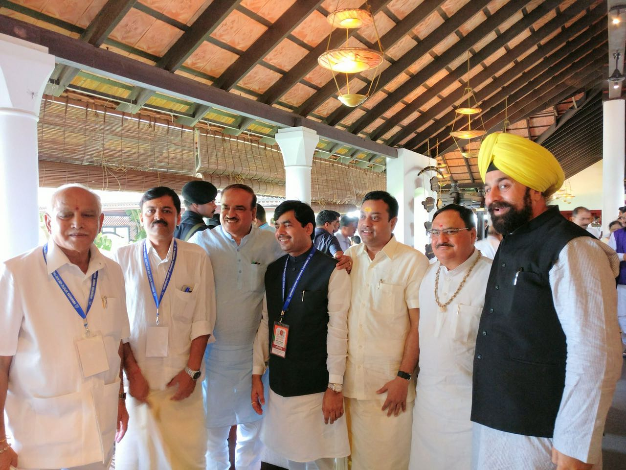 BSY at Kozhikode's BJP National Executive Meeting with party colleagues.