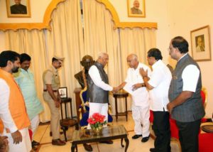 Led delegation of BJP to Honourable Governor of Karnataka to appraise the pathetic law,order situation & the failure to arrest murderers of Rudresh.