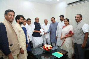 alled on Sh. Rajnath Singhji with state leaders to appraise the deteriorating law,order situation & continued BJP Karyakarta murders in Karnataka.