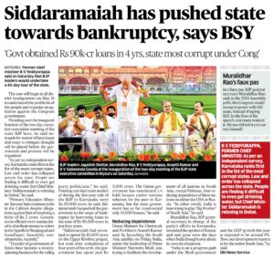 Siddaramaiah has pushed state towards bankruptcy, says BSY
