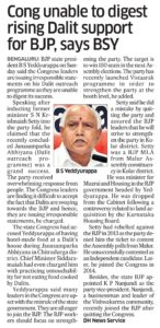 Cong unable to digest rising  Dalit support for BJP, says BSY