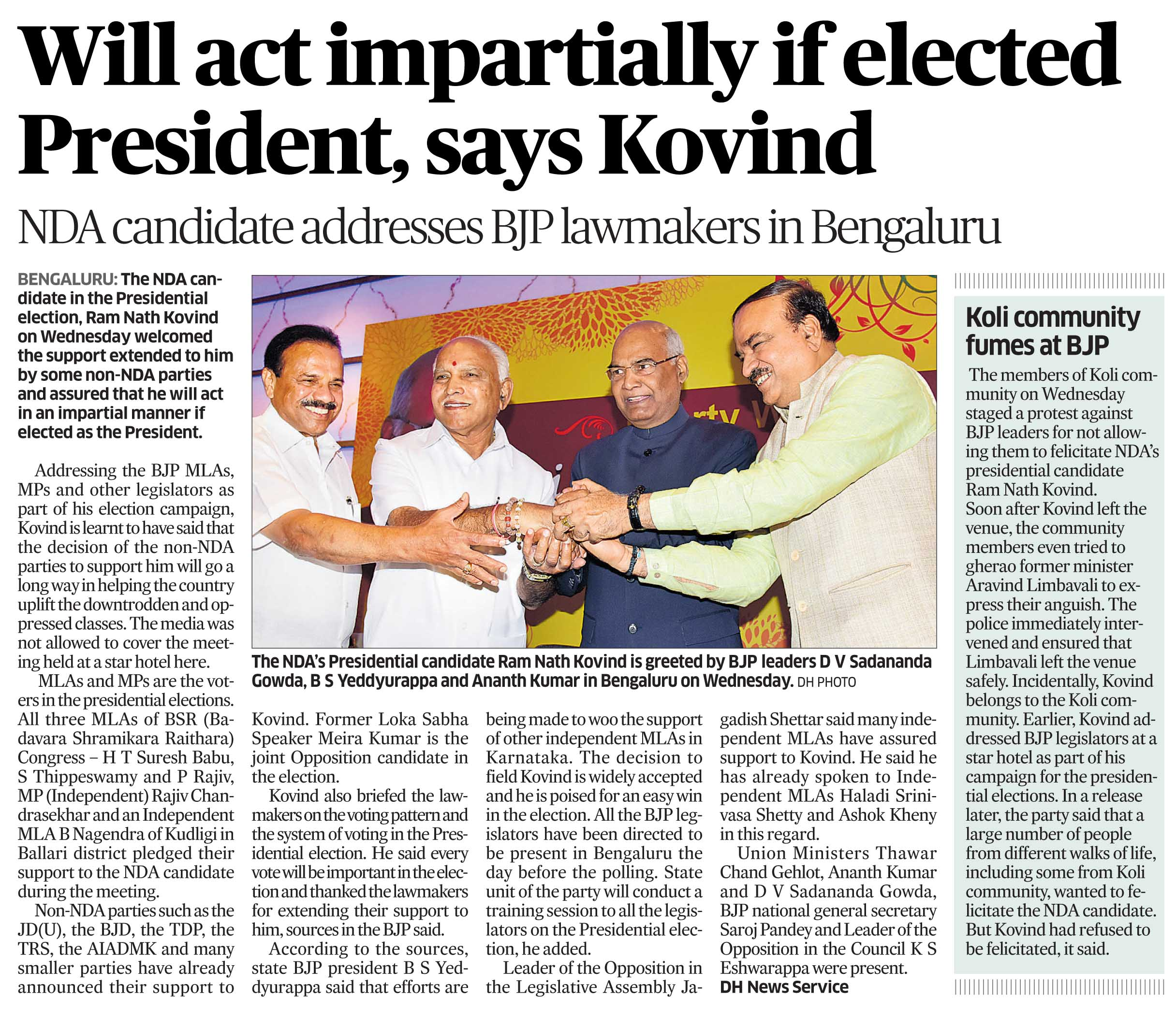 will act impartially if elected president, says Kovind