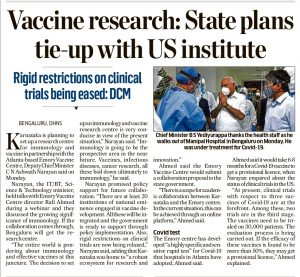 Vaccine research: state plans tie-up with US institute